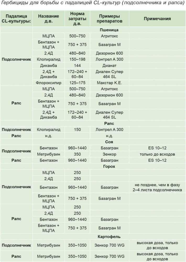 Гербициды для борьбы с падалицей CL-культур (подсолнечника и рапса)