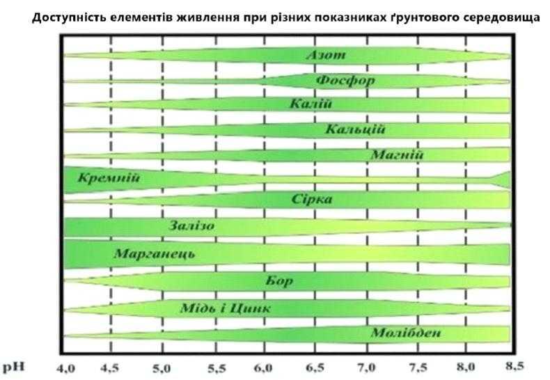 Доступність елементів живлення при різних показниках середовища