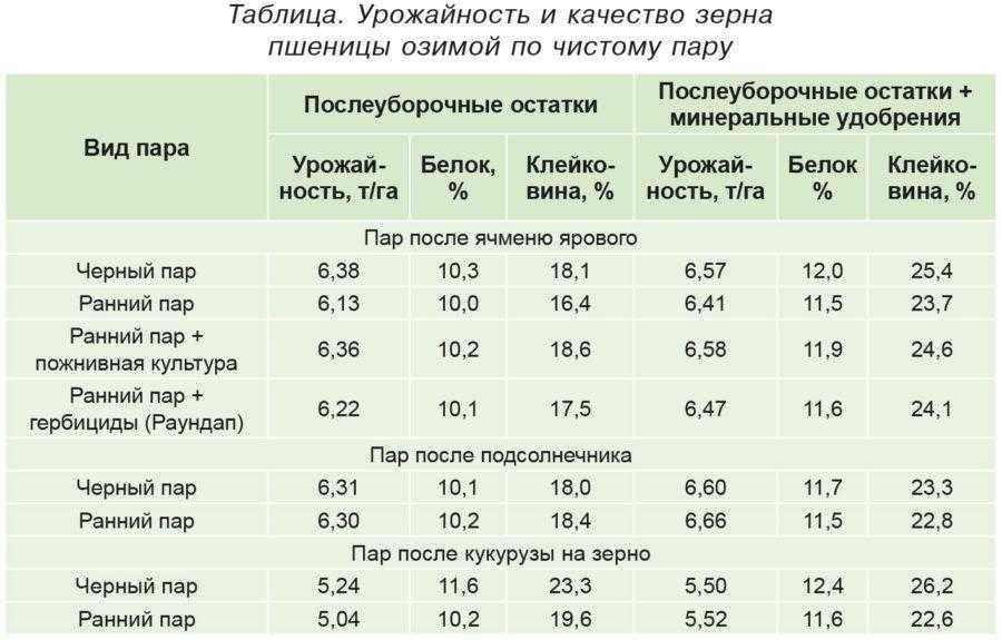 Таблица. Урожайность и качество зерна пшеницы озимой по чистому пару