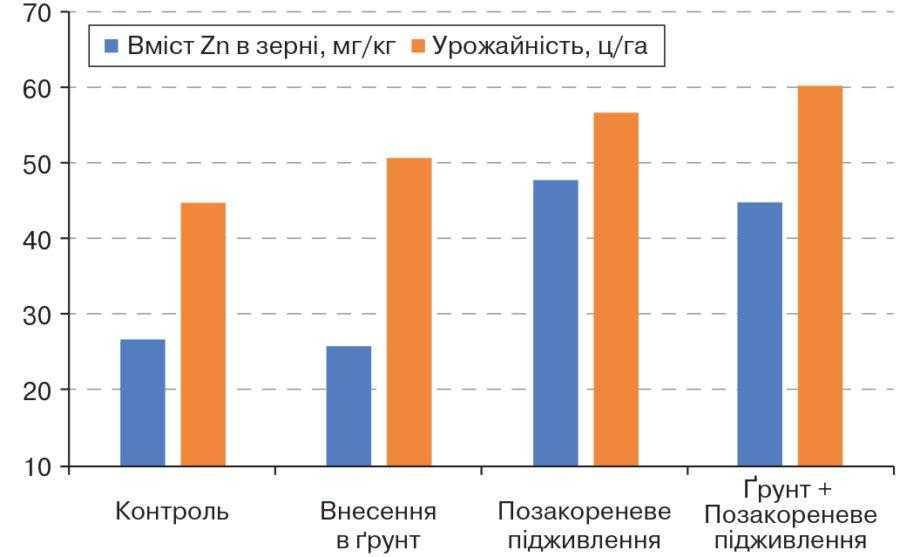 Рис. 3. Вплив способу внесення цинкових добрив на вміст Zn в зерні та урожайність пшениці (Cakmak et al., 2010)