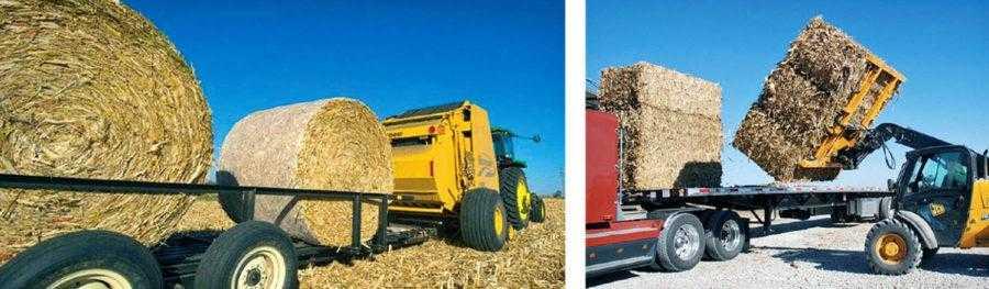 Рис. 6. Использование агрегата – пресс-подборщик + тележка (слева). Такую тележку трактор затем отвозит в место временного хранения тюков. Справа – погрузка тюков из кукурузной соломы на грузовик для транспортировки на большие расстояния