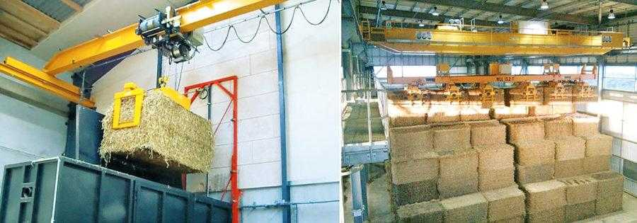 Рис. 8. Хранение тюков из кукурузной соломы на автоматизированном складе на электростанции (справа) и подача в камеру сгорания при помощи крана-балки (слева). При планировании хранения кукурузной соломы следует помнить, что тюки квадратного сечения более удобны в хранении, поскольку занимают меньше места. При хранении кукурузной соломы нельзя допускать повышения ее влажности, так как это существенно влияет на цену