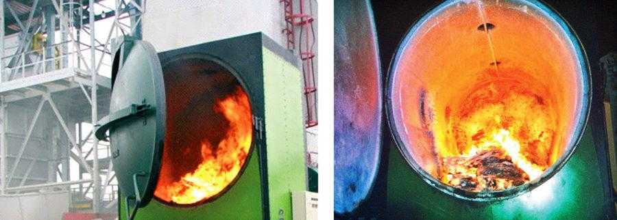 Рис. 10. Солома кукурузы в виде соломенных тюков различной формы и уровня уплотнения, соломенной резки или соломенных гранул (пеллет) является хорошим энергоносителем. По своей теплотворной способности сжигание 2,34 кг соломы приблизительно равно сжиганию 1 м3 природного газа. При этом промышленным предприятиям, фермам или элеваторам использование соломы обойдется в 3 раза дешевле, чем природного газа. На фото – горение соломенных тюков круглого сечения в специальных котлах, предназначенных для соломы (Herlt). В котлы тюки можно подавать при помощи погрузчика или автоматически. Слева – теплогенератор на большом индустриальном элеваторе, справа – топка теплогенератора с внутренним керамическим покрытием, предотвращающим налипание топочных шлаков на стенки камеры сгорания