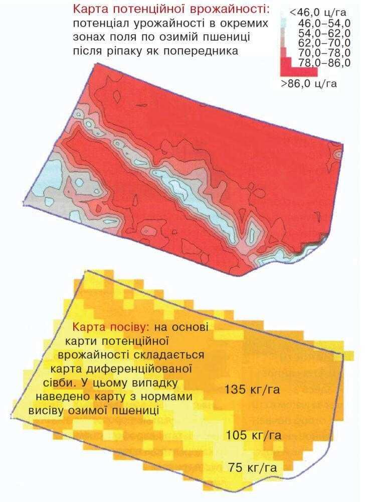 Карта потенційної врожайності й посіву