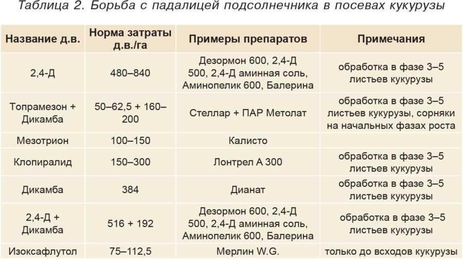 Таблица 2. Борьба с падалицей подсолнечника в посевах кукурузы