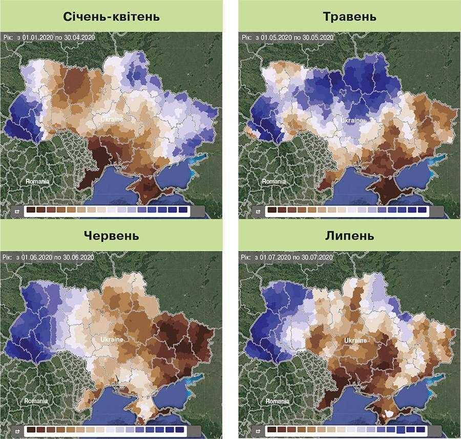 Рис. 6. Розподіл опадів по території України