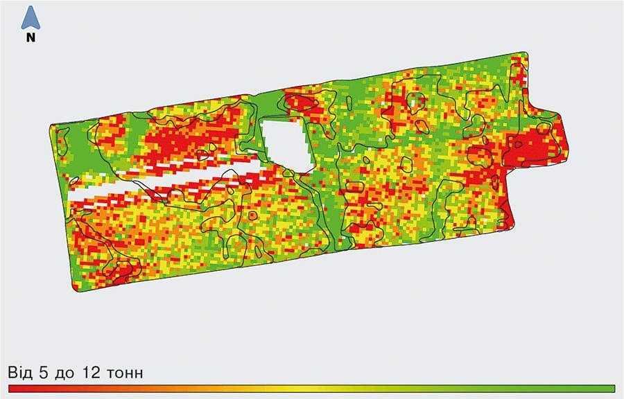 Карта врожайності поля Аполлон. Створено на основі даних із бортового комп'ютера