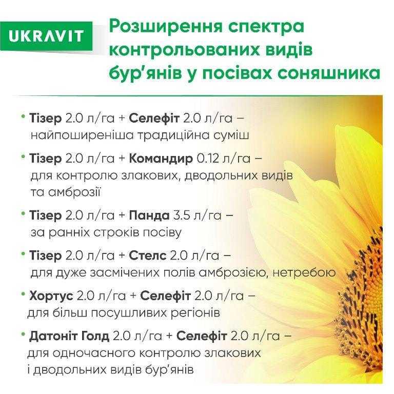 Розширення спектра контрольованих видів бур'янів у посівах соняшнику