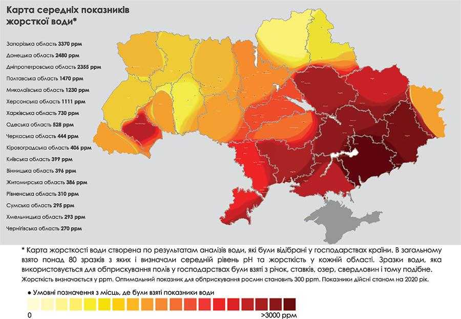 Карта середніх показників жорсткої води