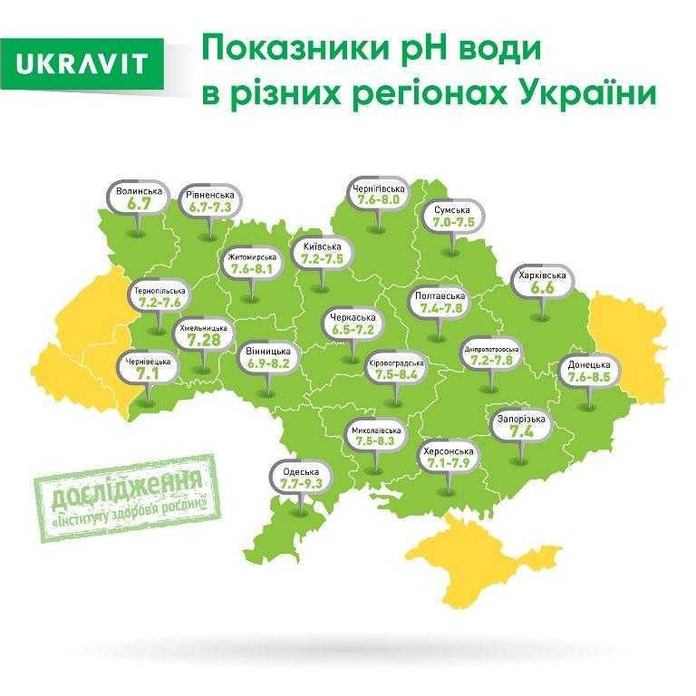 макет із картою рН води по Україні