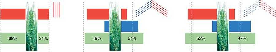 Рис. 3. Розподіл робочого розчину на поверхні колоса при використанні різних типів розпилювачів.