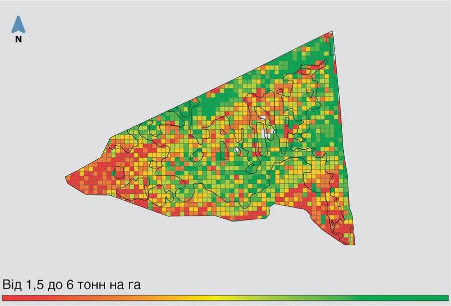 Карта урожайності поля Руслан. Отримано з бортового комп'ютера