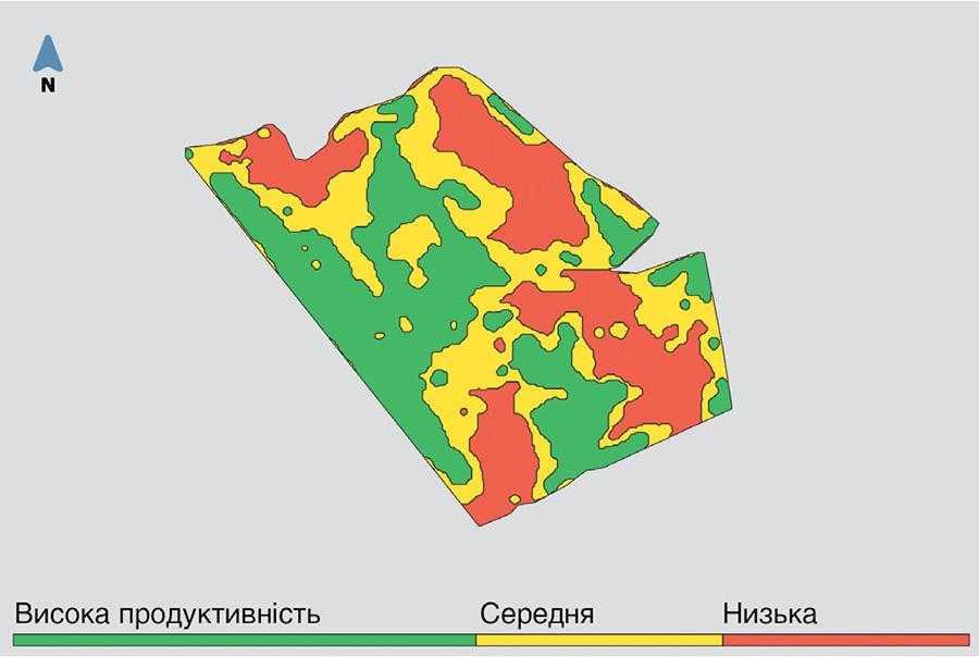 Зони продуктивності поля Людмила (виділені в застосунку OneSoil)