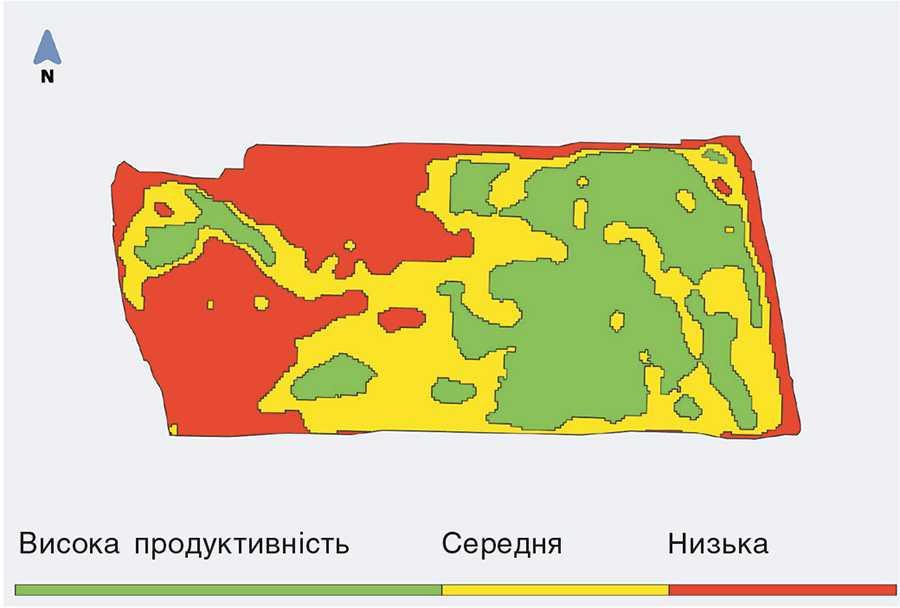 Зони продуктивності на полі озимої пшениці